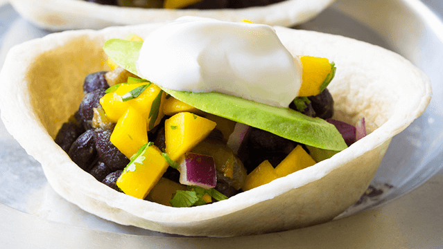 Mini Black Bean Tacos with Mango Pico de Gallo
