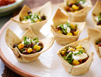 Black Bean Corn Tortilla Cups