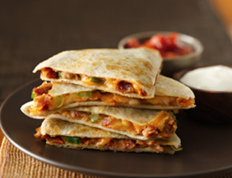 Cheesy Bacon Bean Quesadillas