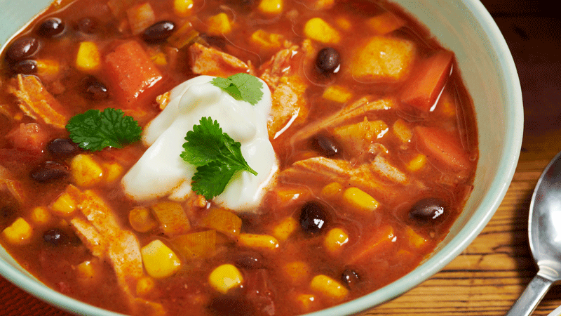 Chilli Turkey, Sweetcorn and Black Bean Soup