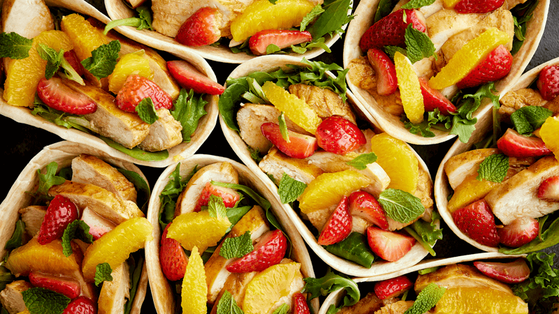 Pan-Fried Strawberry and Orange Sangria Chicken Taco Boats