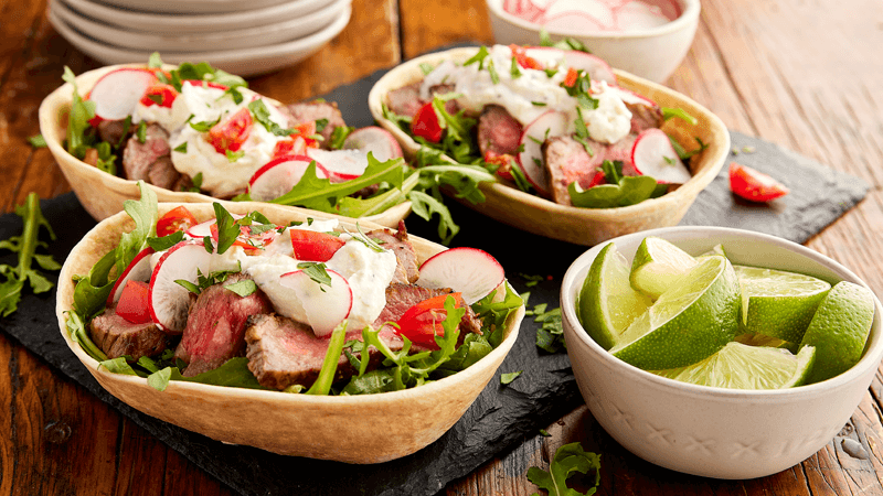 Steak Tacos with Whipped Lemon-Herb Ricotta