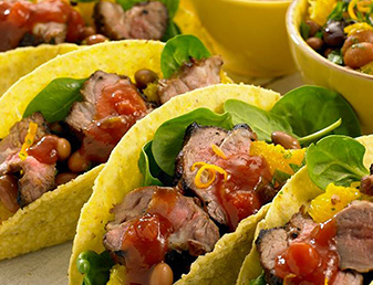 lamb tacos with orange and beans