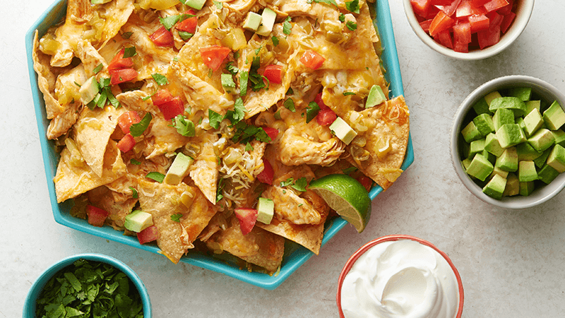 Microwave Cheesy Chicken Nachos