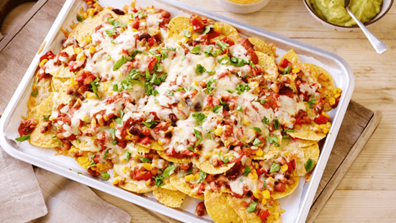 cheese bean sweetcorn nachos