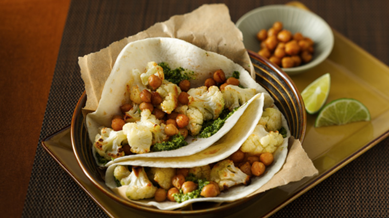 Roasted Cauliflower and Chickpea Tacos