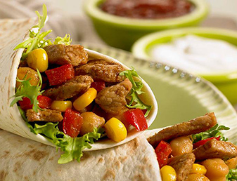 smoky pork corn and chickpea fajitas