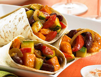 sweet potato and bean burritos